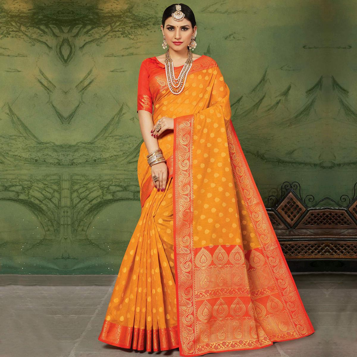 Entrancing Orange Colored Festive Wear Woven Handloom Silk Saree