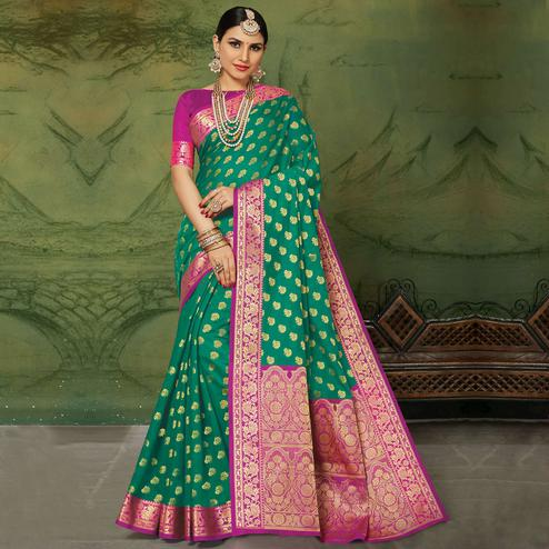 Groovy Green Colored Festive Wear Woven Handloom Silk Saree