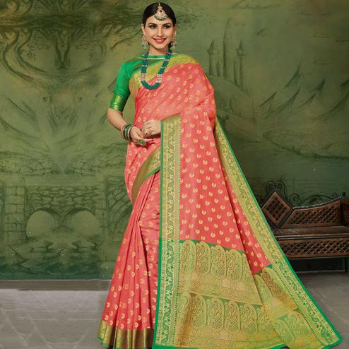 Exclusive Peach Colored Festive Wear Woven Handloom Silk Saree