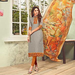 Graceful Grey Printed Cotton Blend Suit