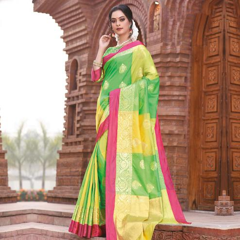 Exceptional Green Colored Festive Wear Woven Handloom Silk Saree
