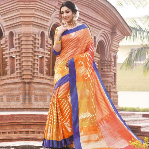 Gleaming Orange Colored Festive Wear Woven Handloom Silk Saree