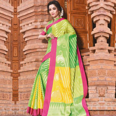 Mesmeric Green Colored Festive Wear Woven Handloom Silk Saree