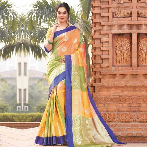 Unique Orange-Green Colored Festive Wear Woven Handloom Silk Saree