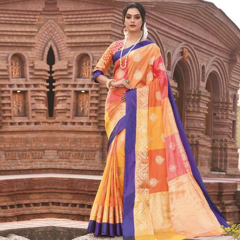 Magnetic Multi Colored Festive Wear Woven Handloom Silk Saree