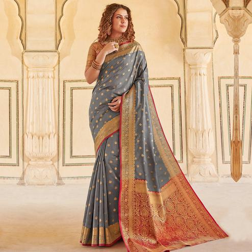 Captivating Grey Colored Festive Wear Woven Handloom Silk Saree