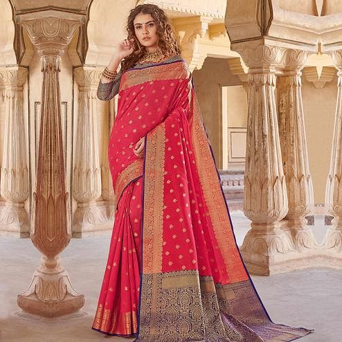 Innovative Pink Colored Festive Wear Woven Handloom Silk Saree