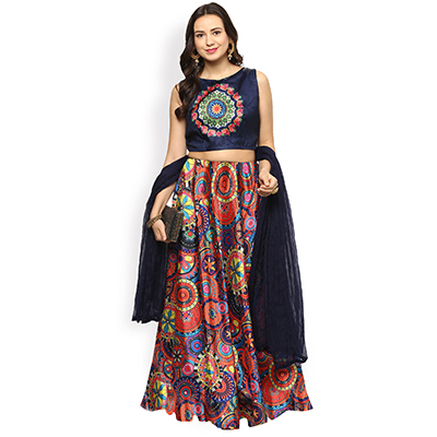 Multi Color Party Wear Semi Stitched Lehenga