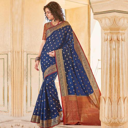 Fantastic Navy Blue Colored Festive Wear Woven Handloom Silk Saree