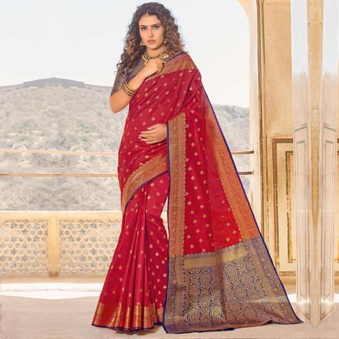 Amazing Red Colored Festive Wear Woven Handloom Silk Saree