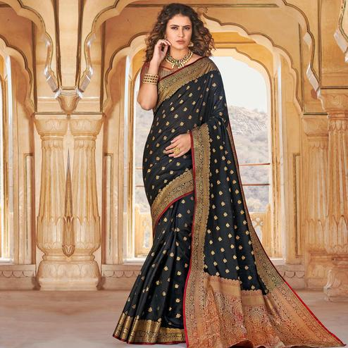Gorgeous Black Colored Festive Wear Woven Handloom Silk Saree