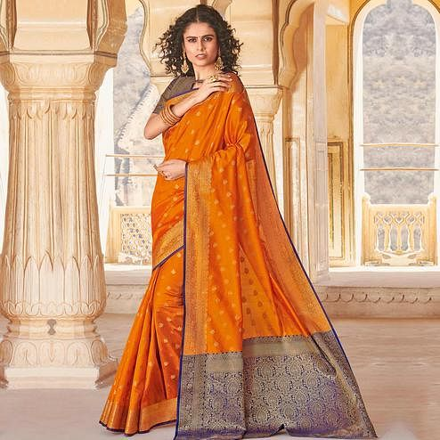 Blissful Orange Colored Festive Wear Woven Handloom Silk Saree