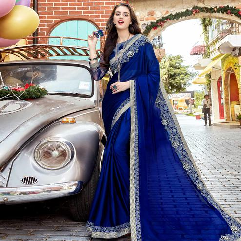 Elegant Blue Colored Party Wear Embroidered Georgette Saree