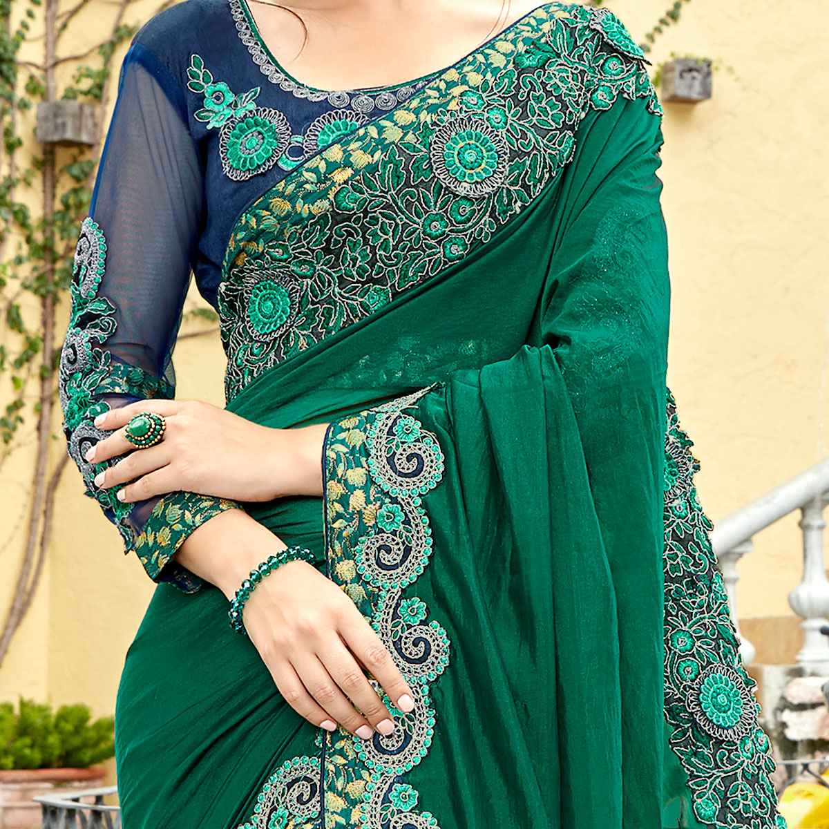 Energetic Green Colored Party Wear Embroidered Georgette Saree