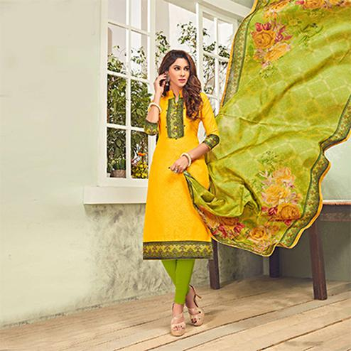 Glorious Yellow - Green Printed Cotton Blend Suit