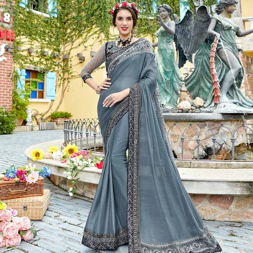 Glowing Grey Colored Party Wear Embroidered Georgette Saree