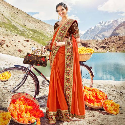 Blooming Orange Colored Party Wear Embroidered Vichitra Art Silk Saree