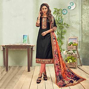 Trendy Black - Peach Printed Cotton Blend Suit