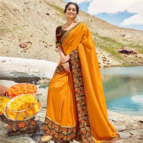Jazzy Orange Colored Party Wear Embroidered Vichitra Art Silk Saree
