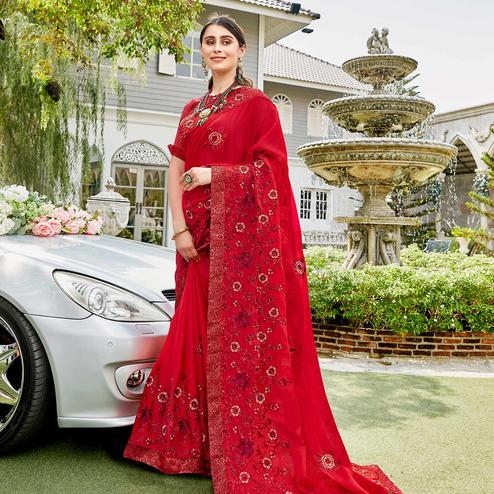 Intricate Red Colored Party Wear Embroidered Georgette Saree