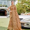 Radiant Light Brown Colored Party Wear Embroidered Georgette Saree