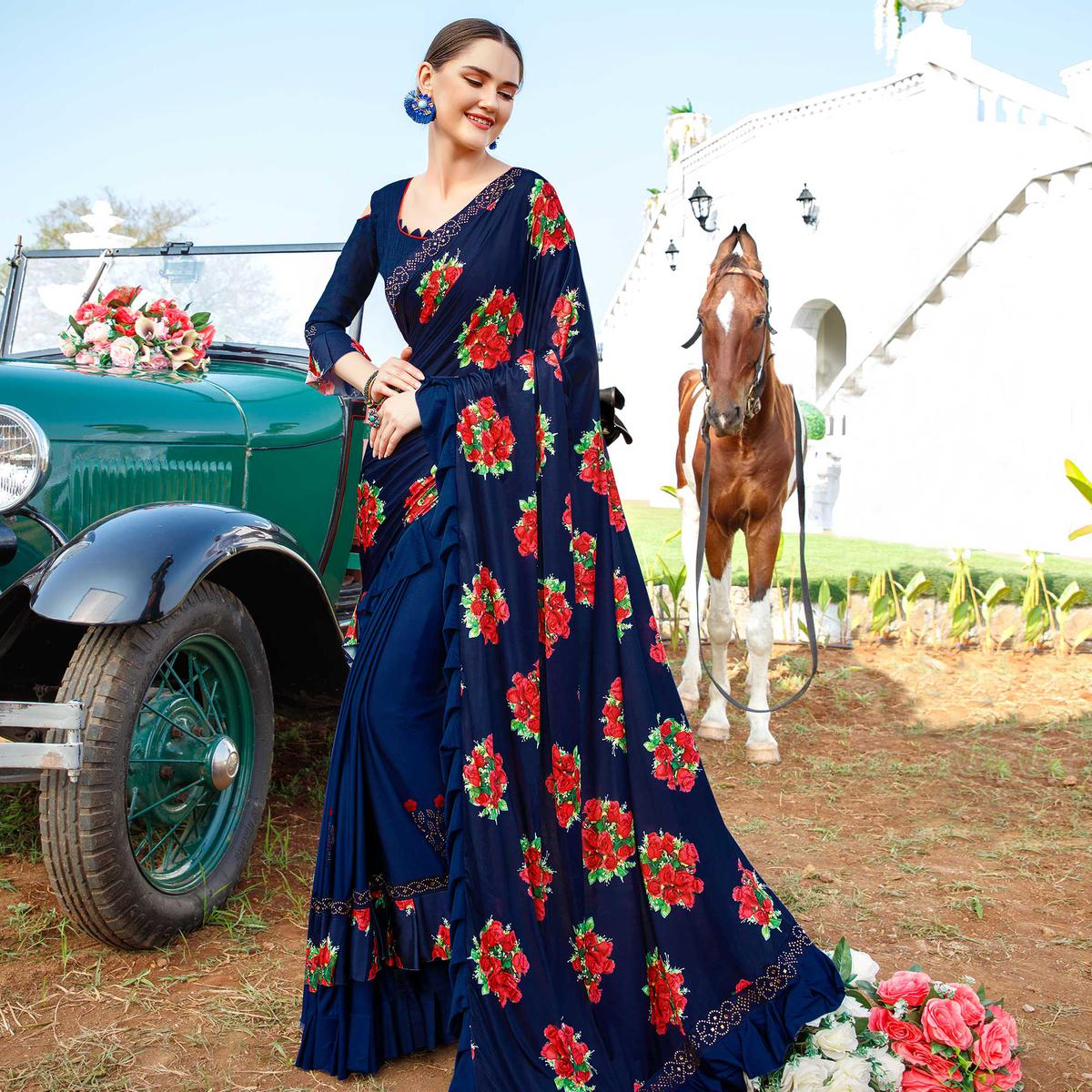 Classy Navy Blue Colored Party Wear Floral Printed Vichitra Art Silk Half & Half Saree