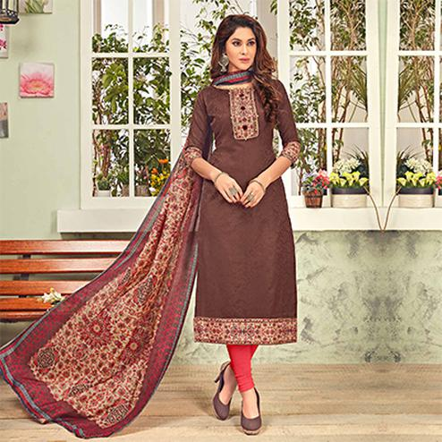Gorgeous Brown Printed Cotton Blend Suit