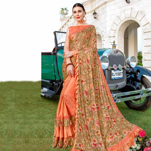 Prominent Peach Colored Party Wear Floral Printed Vichitra Art Silk Half & Half Saree