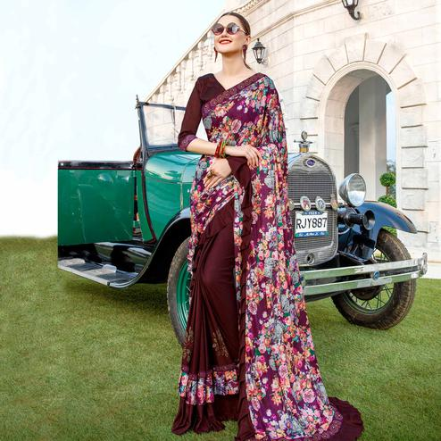 Groovy Wine Colored Party Wear Floral Printed Vichitra Art Silk Half & Half Saree