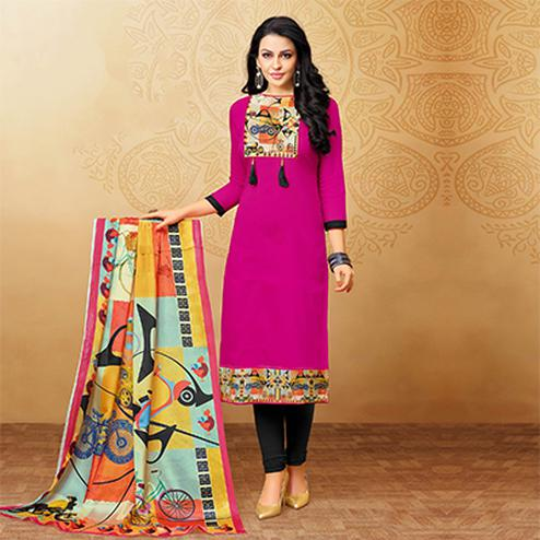 Beautiful Dark Pink Designer Printed Silky Slub Suit