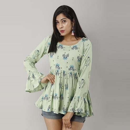 Zyla - Mint Green Colored Casual Floral Printed Rayon Peplum Top