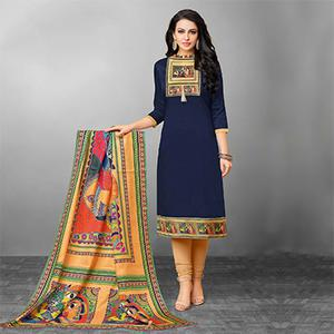 Lovely Navy Blue Designer Printed Silky Slub Suit