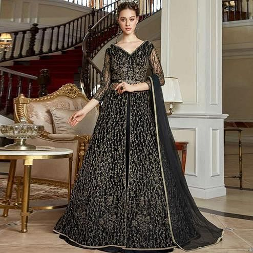 Adorable Black Colored Partywear Embroidered Net Suit