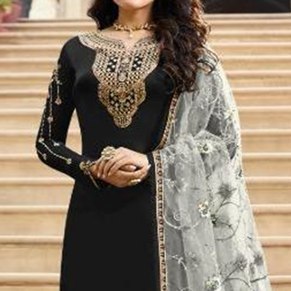 Fantastic Black Colored Partywear Embroidered Satin Georgette Straight Suit