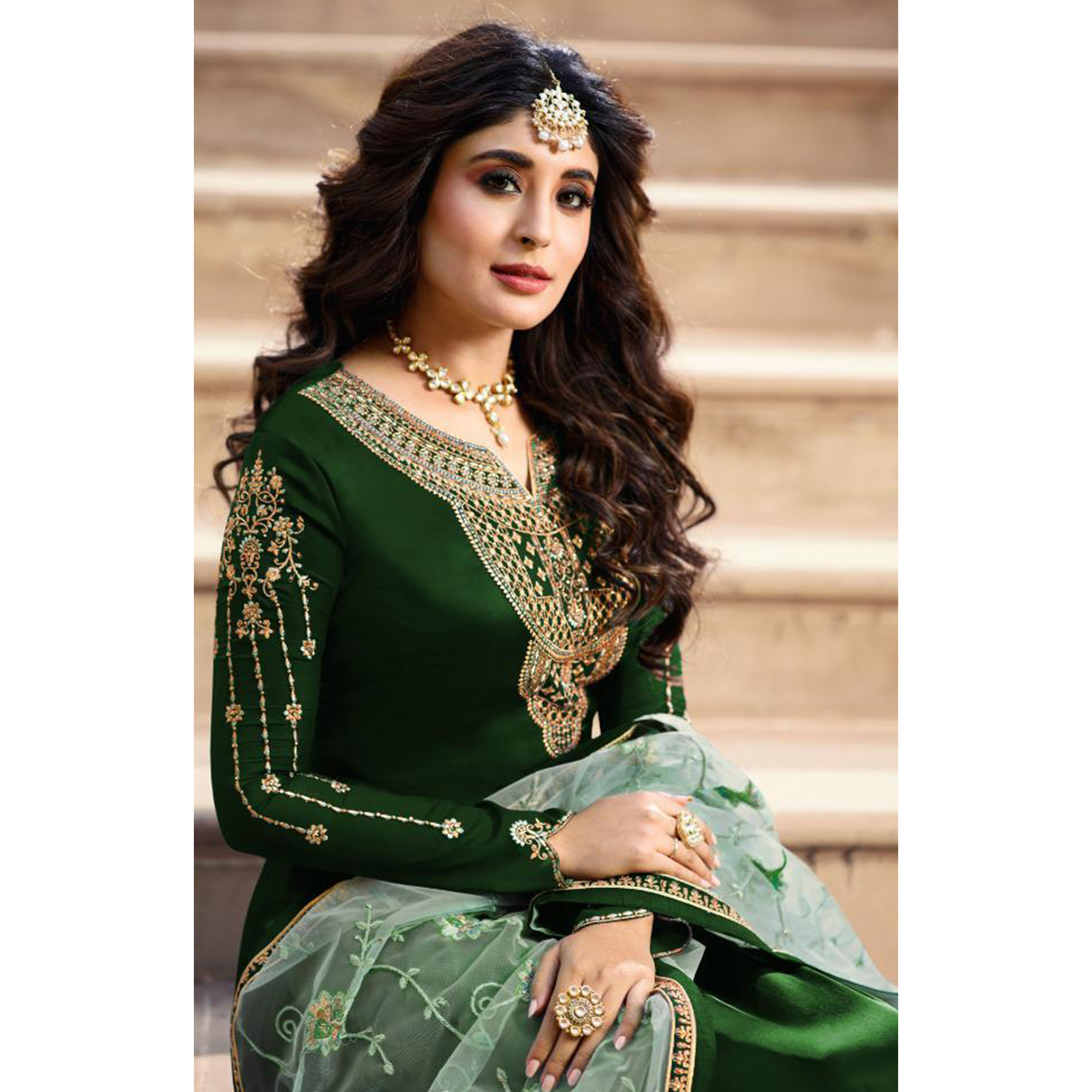 Amazing Green Colored Partywear Embroidered Satin Georgette Straight Suit