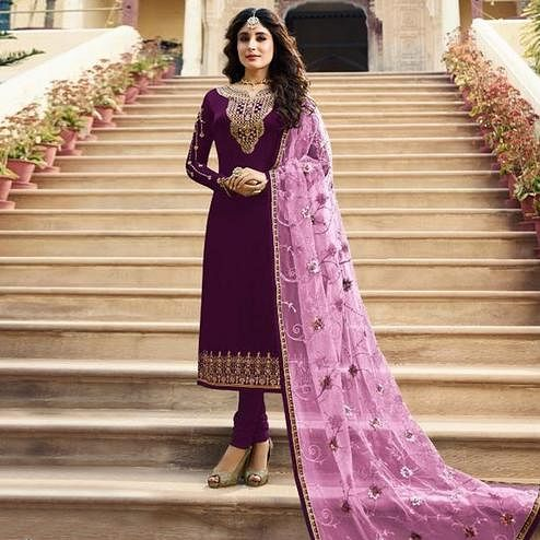 Gorgeous Purple Colored Partywear Embroidered Satin Georgette Straight Suit