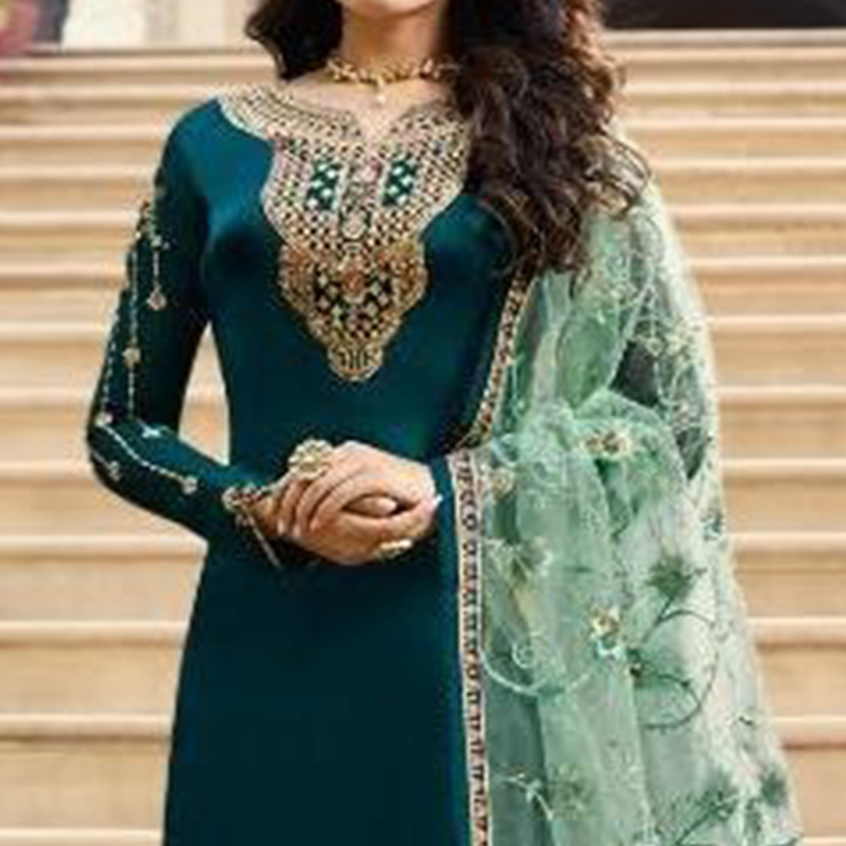 Blissful Rama Colored Partywear Embroidered Satin Georgette Straight Suit