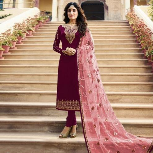 Ideal Red Colored Partywear Embroidered Satin Georgette Straight Suit