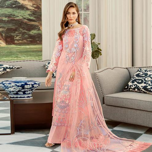 Lovely Orange Cololred Partywear Embroidered Net Palazzo Suit