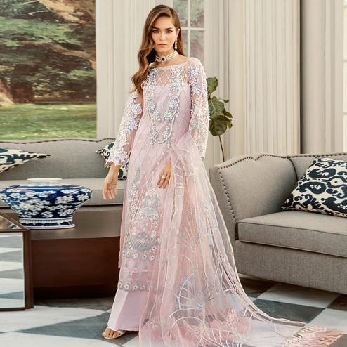Majesty Pink Cololred Partywear Embroidered Net Palazzo Suit