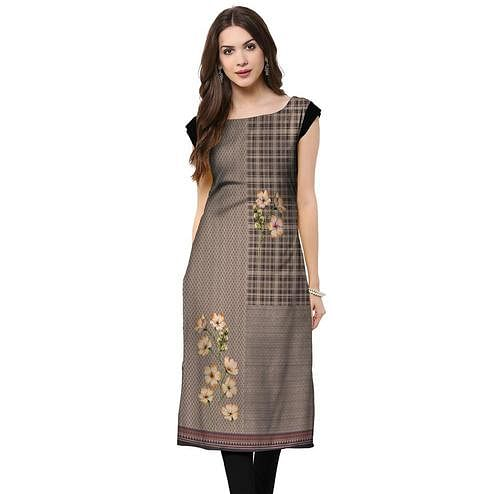 Fantastic Grey Colored Casual Printed Rayon Kurti