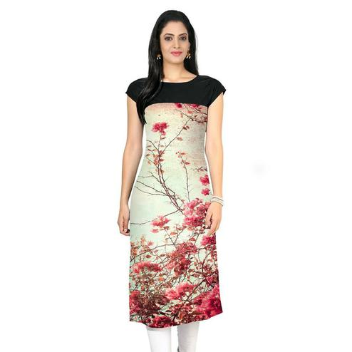 Cream Colored Casual Floral Print Kurti