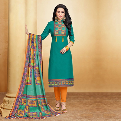 Glorious Green Designer Printed Silky Slub Suit