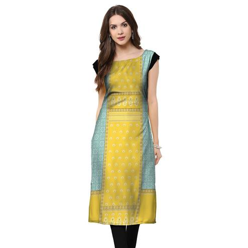 Captivating Lemon Yellow Colored Casual Printed Rayon Kurti