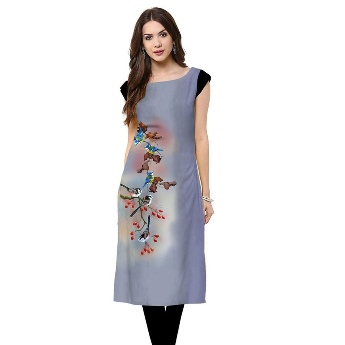 Beautiful Light Blue Colored Casual Printed Rayon Kurti