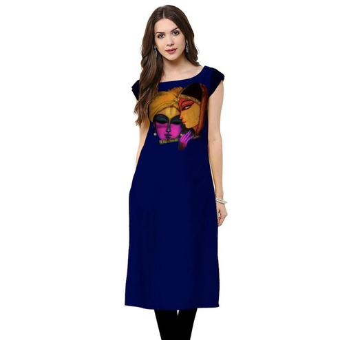 Graceful Royal Blue Colored Casual Printed Rayon Kurti
