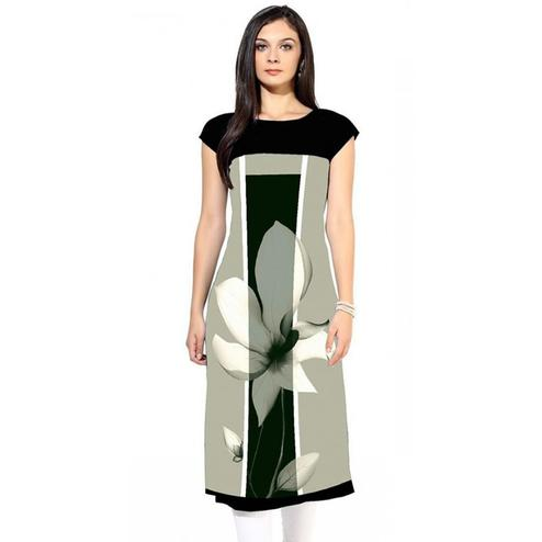 Captivating Light Gray Colored Casual Digital Printed Rayon Kurti
