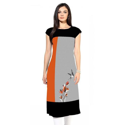 Gorgeous Gray-Orange Colored Casual Digital Printed Rayon Kurti