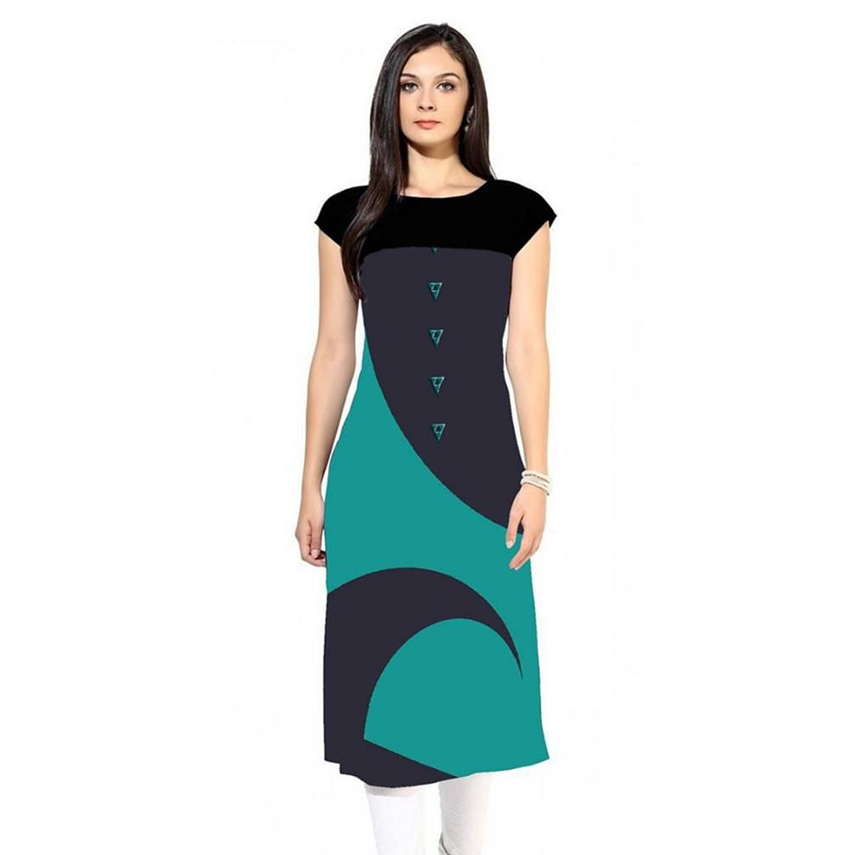 Delightful Navy Blue-Turquoise Green Colored Casual Digital Printed Rayon Kurti
