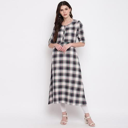 Vbuyz Women's - Blue Colored Casual Checked Printed Rayon A-Line Kurti